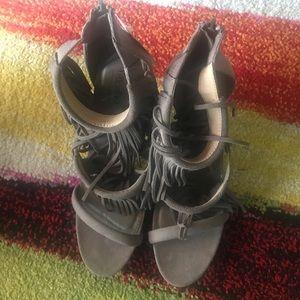 Brand new dark gray fringe-heel sandals, size 11
